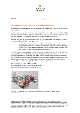 Lyckeby valde Pegasus® Continuous Mixer från Christian Berner