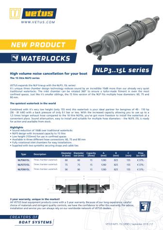 VETUS NLP3..15L series of waterlocks - Information Sheet
