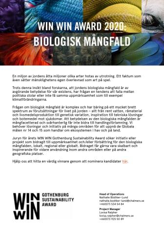 Tema för WIN WIN Award 2020: Biodiversitet