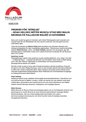 Premiär! Rörelse  – Noah Hellwig möter Musica Vitae med Malin Broman på Palladium Malmö 23 november