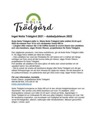 Inget Nolia Trädgård 2021 – dubbeljubileum 2022