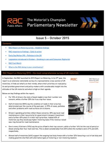 RAC Parliamentary Newsletter #5 - October 2015