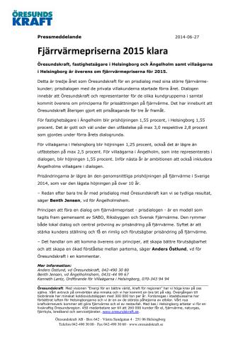 Fjärrvärmepriserna 2015 klara