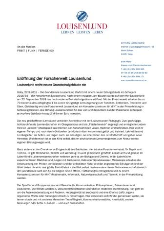 Eröffnung der Forscherwelt Louisenlund - Louisenlund weiht neues Grundschulgebäude ein
