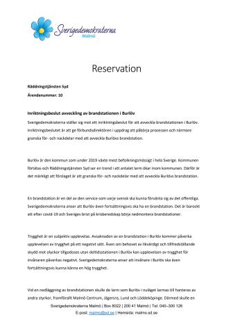 SD säger nej till nedläggning av Burlövs brandstation