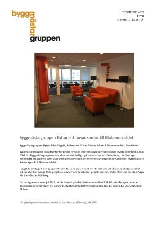 Byggmästargruppen flyttar sitt huvudkontor till Globenområdet