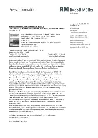 Gebäudeschadstoffe und Innenraumluft, Band 10