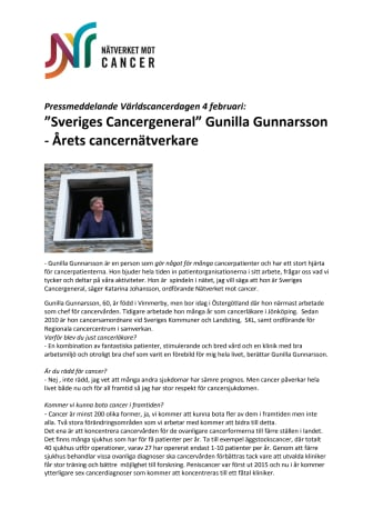 """""""Sveriges Cancergeneral"""" Gunilla Gunnarsson - Årets cancernätverkare"""