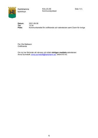 Pressinbjudan: Information från Kommunstyrelsen