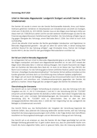 Urteil im Mercedes Abgasskandal: Landgericht Stuttgart verurteilt Daimler AG zu Schadensersatz