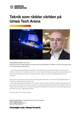 Teknik som kan rädda världen på Umeå Tech Arena