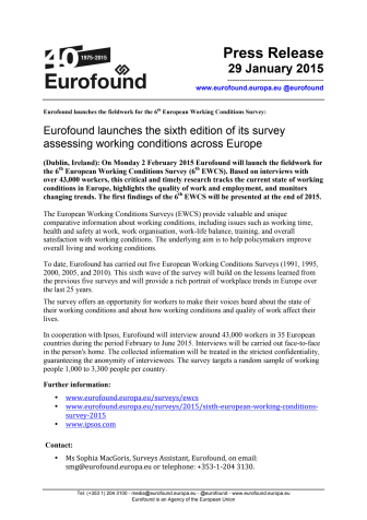 Eurofound launches the sixth edition of its survey assessing working conditions across Europe