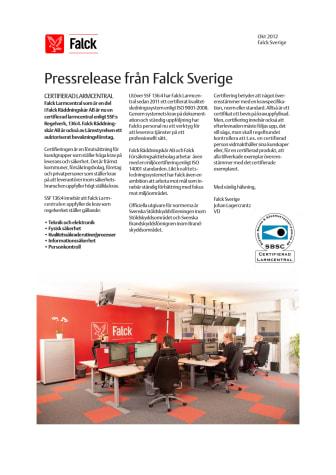 Falck Larmcentral certifierad