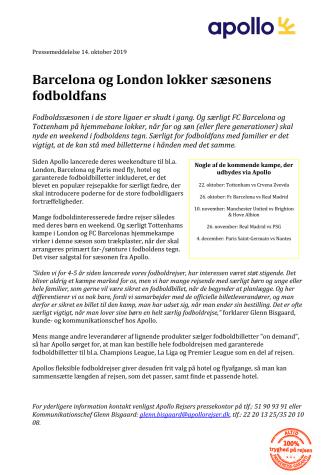 Barcelona og London lokker sæsonens fodboldfans