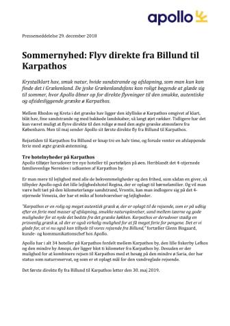 Sommernyhed: Flyv direkte fra Billund til Karpathos