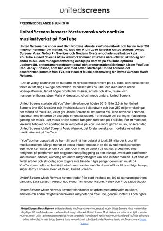 Pressmeddelande: United Screens lanserar första svenska och nordiska musiknätverket på YouTube