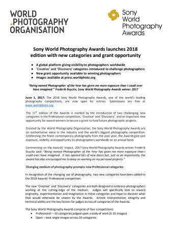 Sony World Photography Awards 2018 er nu åben for tilmelding
