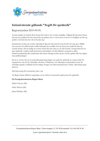Initiativärende: tillskriv regeringen angående avgift för språktolk