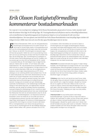 Erik Olson Fastighetsförmedling kommenterar bostadsmarknaden 19 maj 2020