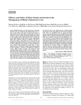 """Studie om växtsteroler och statiner: """"Efficacy and safety of plant stanols and sterols in the management of blood cholesterol levels."""""""