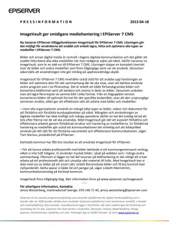 ImageVault ger smidigare mediehantering i EPiServer 7 CMS