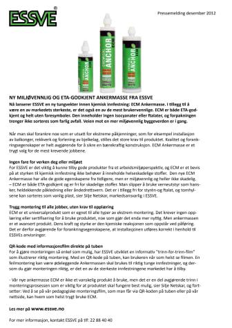 Ny miljøvennlig og ETA-godkjent ankermasse fra ESSVE