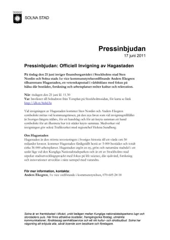 Pressinbjudan: Officiell Invigning av Hagastaden