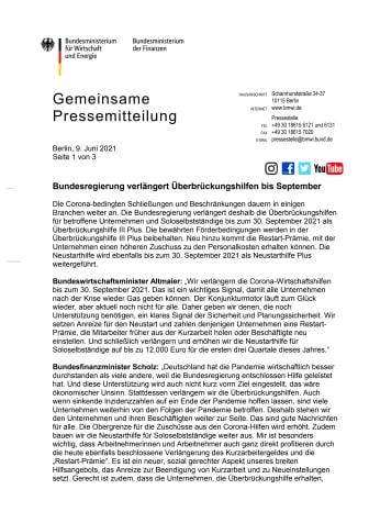 Pressemitteilung vom 09.06.2021 zu Überbrückungshilfen: Verlängerung bis 30.09.2021, Erhöhung der Obergrenze