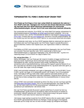 TOPKARAKTER TIL FORD I EURO NCAP CRASH TEST