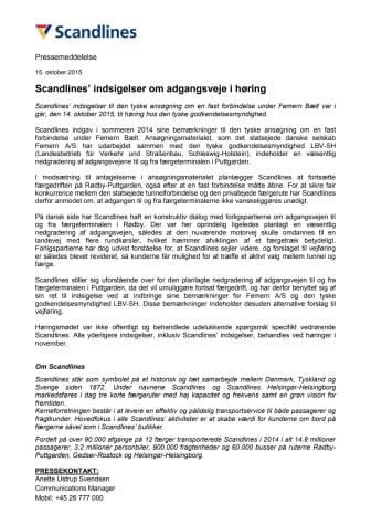 Scandlines' indsigelser om adgangsveje i høring