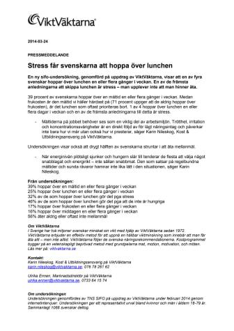 Stress får svensken att hoppa över lunchen