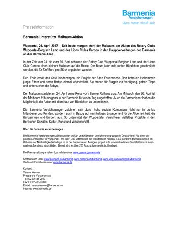 Barmenia unterstützt Maibaum-Aktion
