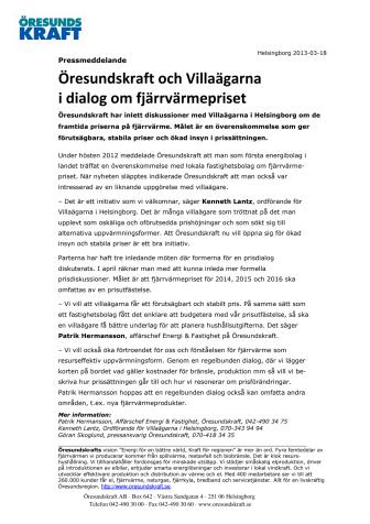 Öresundskraft och Villaägarna i dialog om fjärrvärmepriset