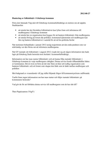 Vägvalet lämnar interpellation om hantering av folkinitiativ i Göteborgs kommun