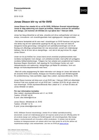 Jonas Olsson blir ny vd för SVID