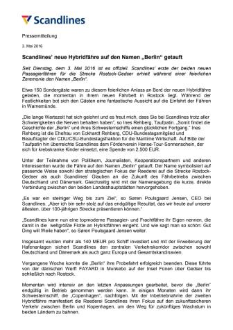 """Scandlines' neue Hybridfähre auf den Namen """"Berlin"""" getauft"""