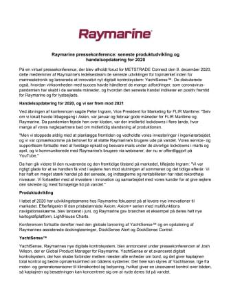 Raymarine pressekonference: seneste produktudvikling og  handelsopdatering for 2020