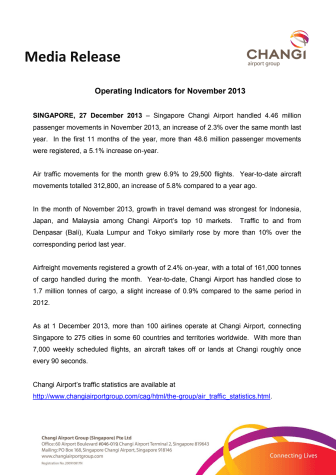 Operating Indicators for November 2013