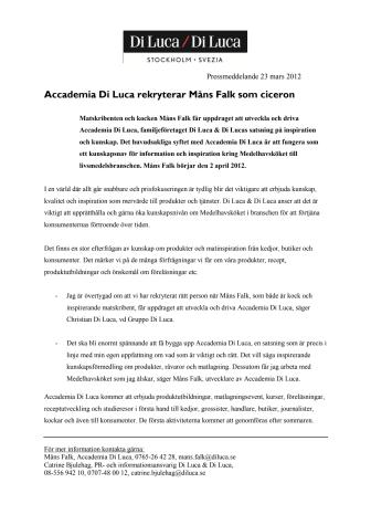 Accademia Di Luca rekryterar Måns Falk som ciceron
