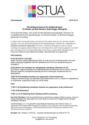 """Pressinbjudan """"Omvärldsseminarium för besöksnäringen"""" 19 oktober, Strängnäs"""