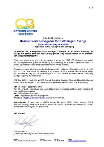 HRF bjuder in till hearing på Elmia 11 september
