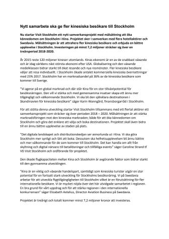 Nytt samarbete ska ge fler kinesiska besökare till Stockholm