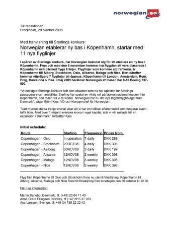 Norwegian etablerar ny bas i Köpenhamn, startar med 11 nya flyglinjer