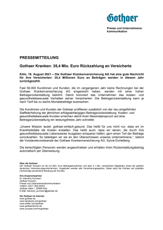 Gothaer Kranken: 35,4 Mio. Euro Rückzahlung an Versicherte