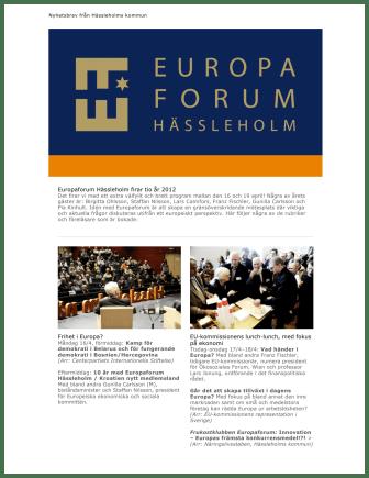 Europaforum Hässleholm firar tio år 2012 - 16-19 april