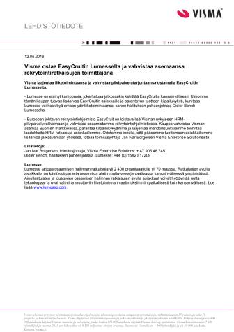 Visma ostaa EasyCruitin Lumesselta ja vahvistaa asemaansa rekrytointiratkaisujen toimittajana