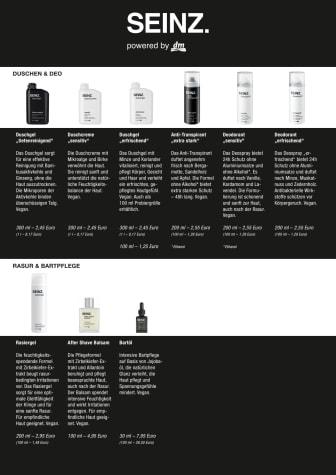 Produktübersicht der neuen Männermarke SEINZ. powered by dm