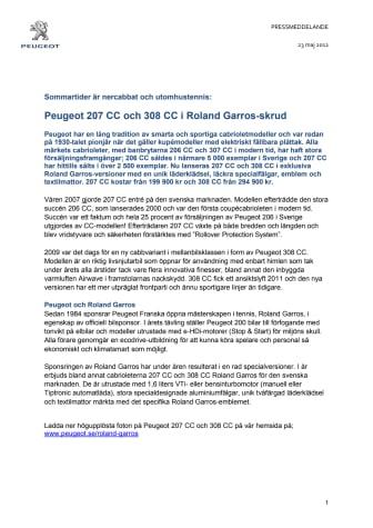 Sommartider är nercabbat och utomhustennis: Peugeot 207 CC och 308 CC i Roland Garros-skrud