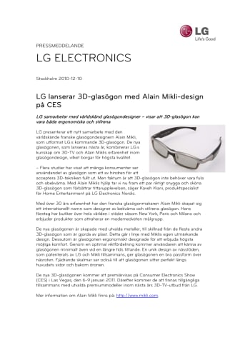 LG lanserar 3D-glasögon med Alain Mikli-design på CES