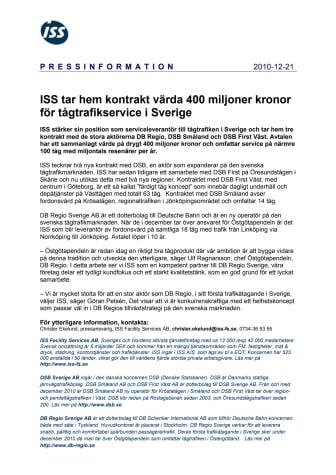 ISS tar hem kontrakt värda 400 miljoner kronor för tågtrafikservice i Sverige